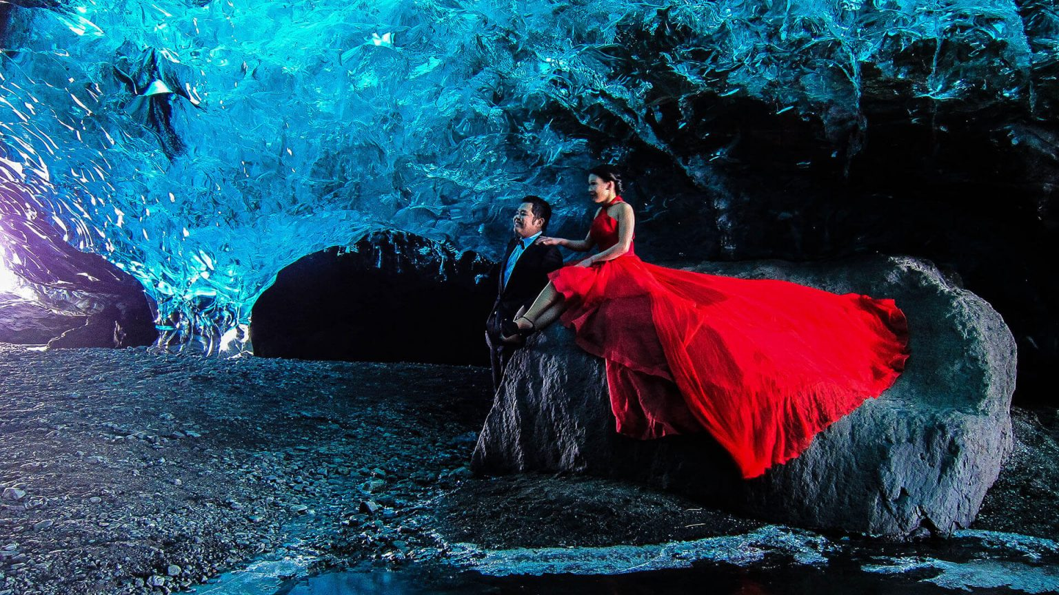 Couple In Ice Cave Iceland