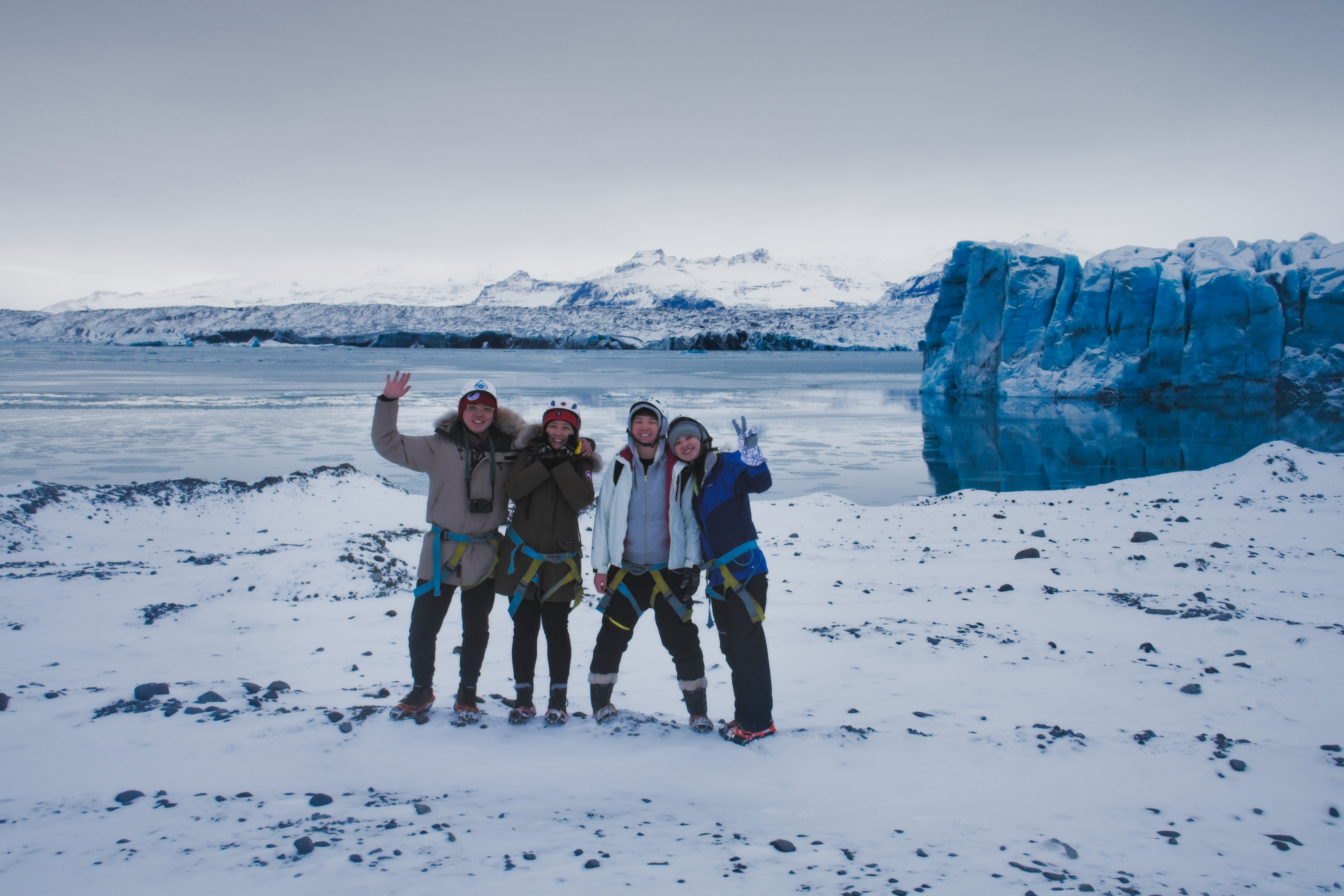 Glacier tour group on a Blue Iceland ice cave tour.