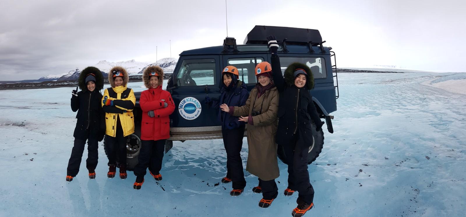 Ice Cave group - Blue Iceland glacier tour, Vatnajökull, Iceland.