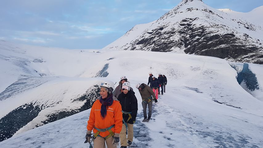 Group of Blue Iceland guests - Hiking on Vatnajökull, Iceland.