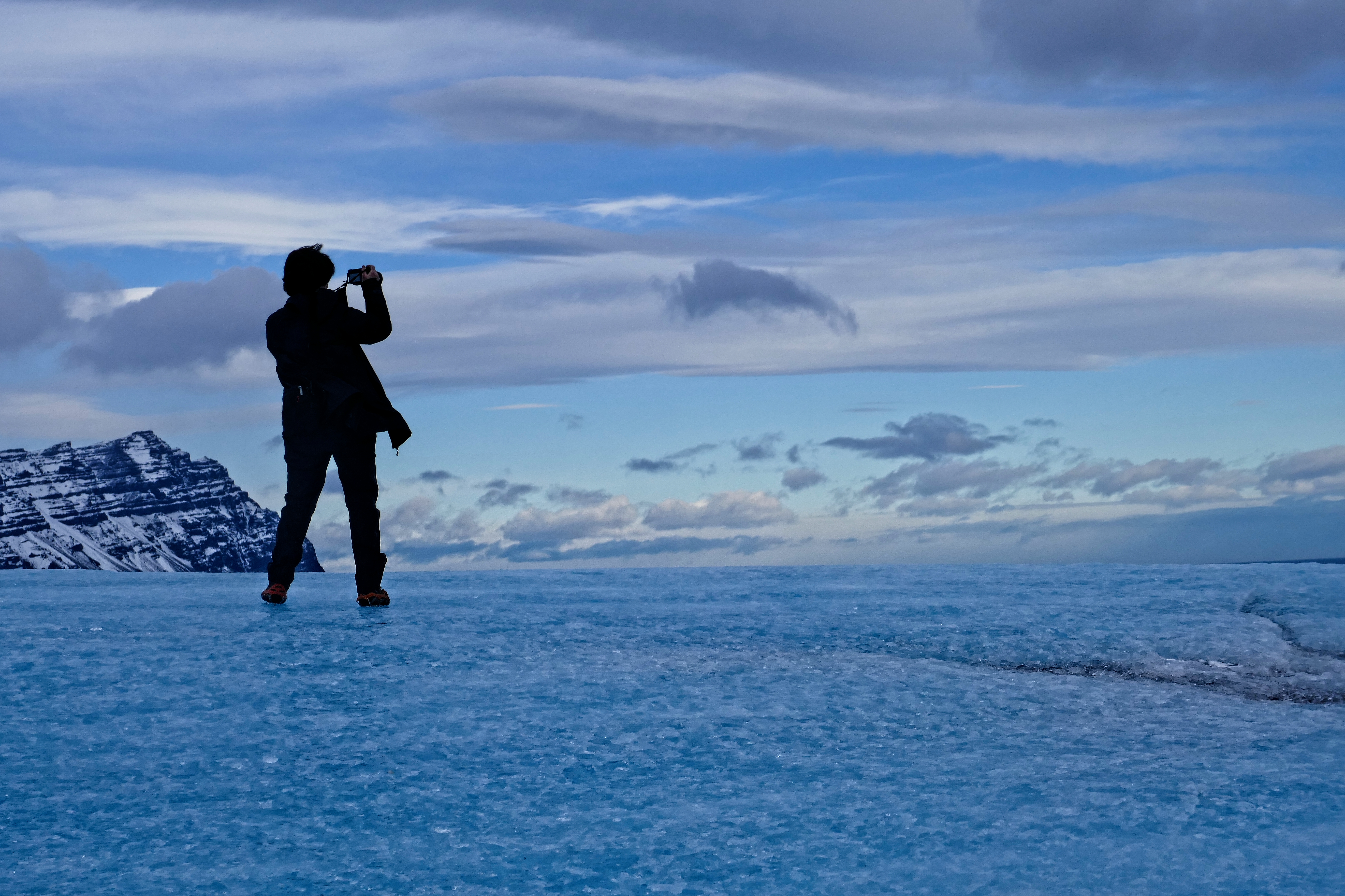 Ice Cave and Hiking tour - Blue Iceland guest on Vatnajökull glacier, Iceland.