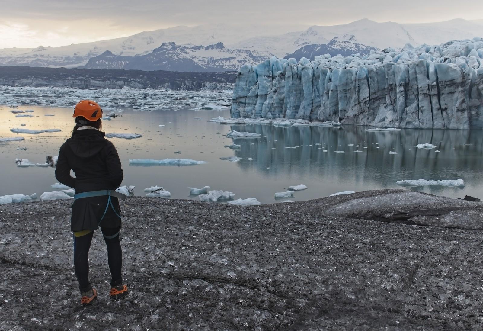 Blue Iceland glacier walk guests in front of Blue Steel, Jökulsárlón, Iceland